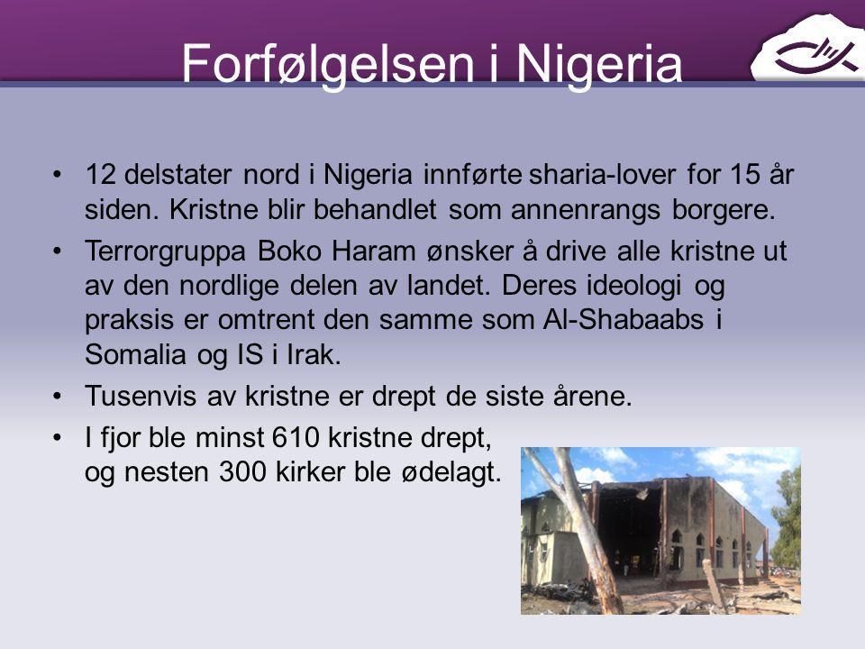 Forfølgelsen i Nigeria 12 delstater nord i Nigeria innførte sharia-lover for 15 år siden. Kristne blir behandlet som annenrangs borgere. Terrorgruppa