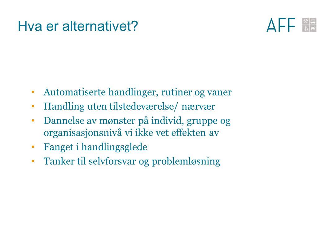 Hva er alternativet? Automatiserte handlinger, rutiner og vaner Handling uten tilstedeværelse/ nærvær Dannelse av mønster på individ, gruppe og organi