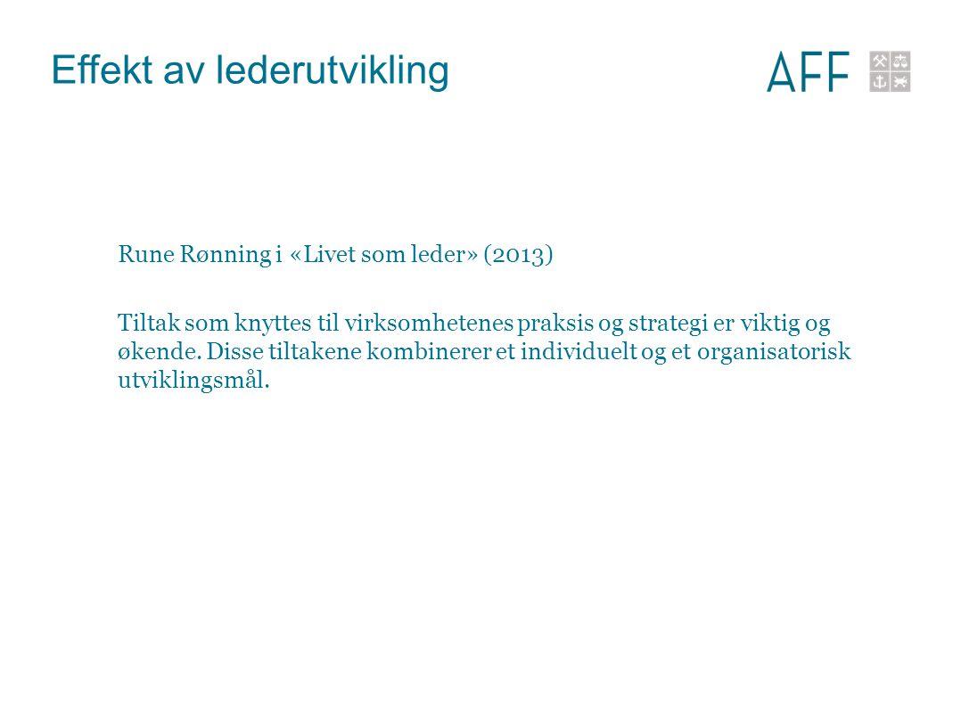 Effekt av lederutvikling Rune Rønning i «Livet som leder» (2013) Tiltak som knyttes til virksomhetenes praksis og strategi er viktig og økende. Disse