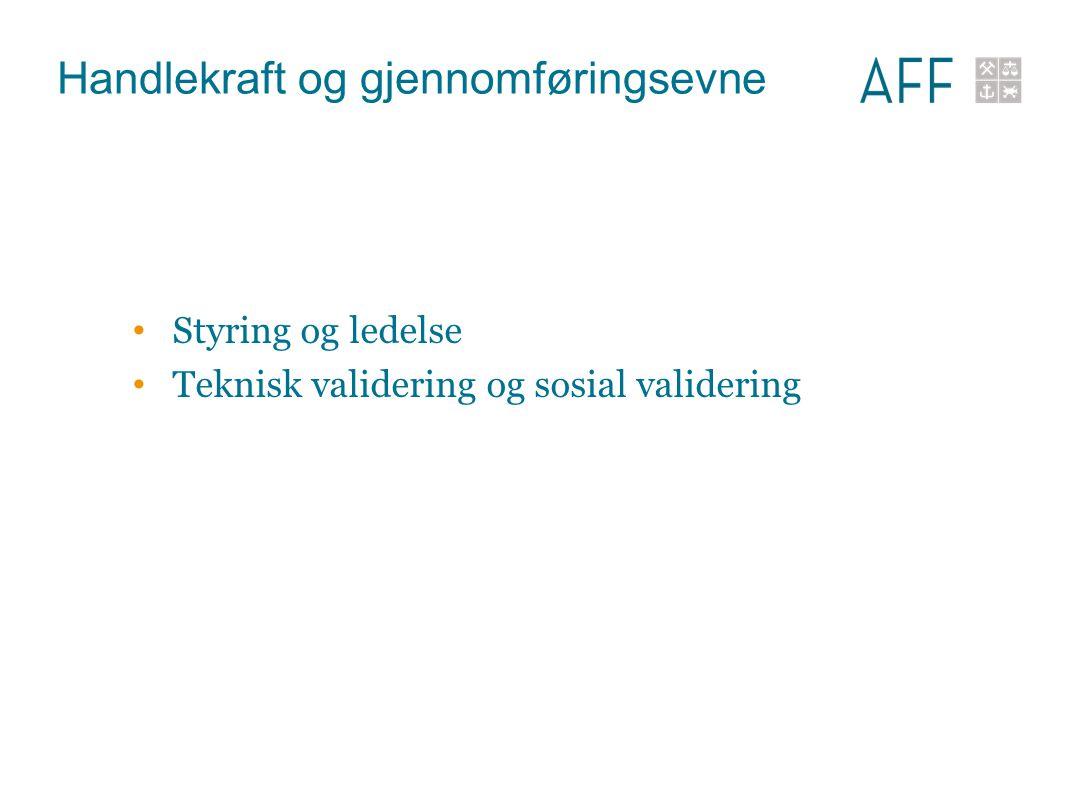 Handlekraft og gjennomføringsevne Styring og ledelse Teknisk validering og sosial validering