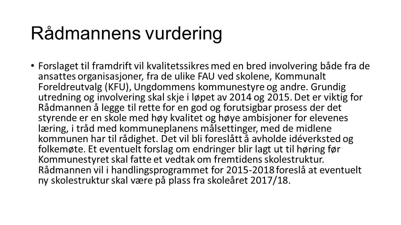 Rådmannens forslag til fremdrift HVANÅRANSVAR Sondering om prosess/framdriftsplan i KFU14.10.2014Rådmann Framdriftsplan sonderes i FAU'ene i FrognUke 42 - 44FAU-leder/KFU-medlem Sak om prosess/framdriftsplan i KFU/ OOK/Formannskap/ Kommunestyre November/desember 2014Rådmann Kvalitetssikring av innhold og økonomi i de forskjellige alternativene, inkl.