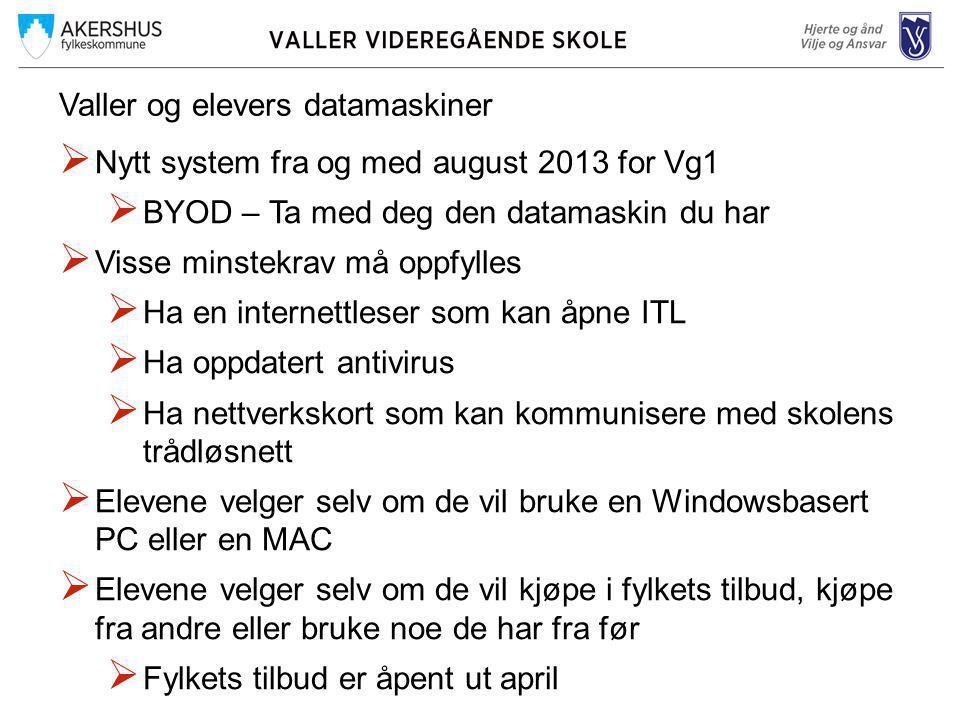 Valler og elevers datamaskiner  Nytt system fra og med august 2013 for Vg1  BYOD – Ta med deg den datamaskin du har  Visse minstekrav må oppfylles