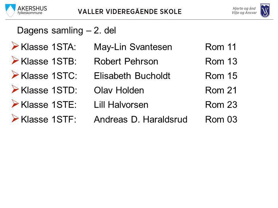 Dagens samling – 2. del  Klasse 1STA: May-Lin SvantesenRom 11  Klasse 1STB:Robert Pehrson Rom 13  Klasse 1STC:Elisabeth BucholdtRom 15  Klasse 1ST