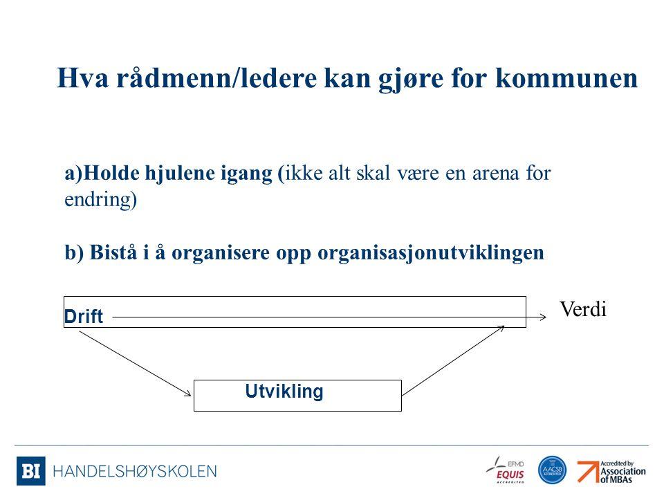 Drift Utvikling a)Holde hjulene igang (ikke alt skal være en arena for endring) b) Bistå i å organisere opp organisasjonutviklingen Verdi Hva rådmenn/