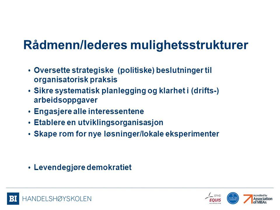 Rådmenn/lederes mulighetsstrukturer Oversette strategiske (politiske) beslutninger til organisatorisk praksis Sikre systematisk planlegging og klarhet