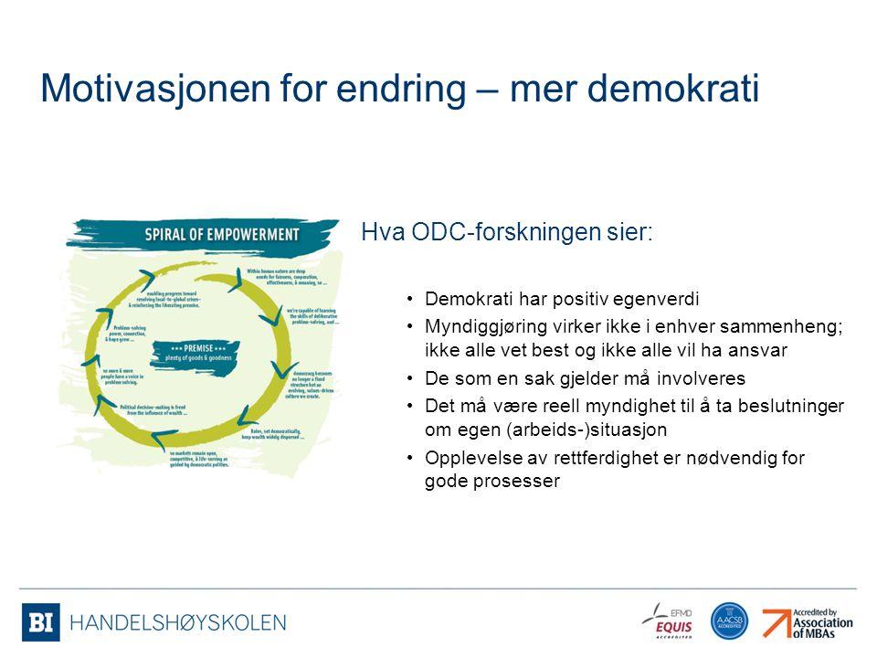 Hva ODC-forskningen sier: Demokrati har positiv egenverdi Myndiggjøring virker ikke i enhver sammenheng; ikke alle vet best og ikke alle vil ha ansvar
