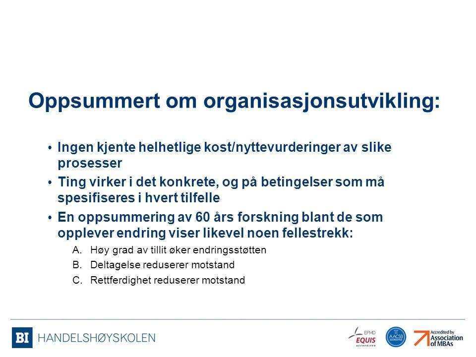Oppsummert om organisasjonsutvikling: Ingen kjente helhetlige kost/nyttevurderinger av slike prosesser Ting virker i det konkrete, og på betingelser s