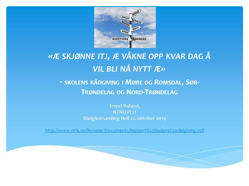  Samarbeid mellom NTNU, IRIS og SINTEF  Forskerlaget: Ida Holth Mathisen (IRIS), Siri Mordal (SINTEF) og Trond Buland (NTNU) i samarbeid med Christin Tønseth (NTNU), Kathrine Skoland (IRIS)og Randi Austnes-Underhaug (IRIS)  Oppdrag fra fylkeskommunene Sør-Trøndelag, Møre og Romsdal og Nord-Trøndelag og Vox  Forskningsbasert evaluering med hovedvekt på struktur og prosess i skolenes rådgivning Prosjektet 2013-2014 2