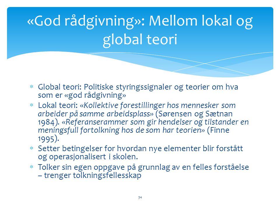  Global teori: Politiske styringssignaler og teorier om hva som er «god rådgivning»  Lokal teori: «Kollektive forestillinger hos mennesker som arbeider på samme arbeidsplass» (Sørensen og Sætnan 1984).