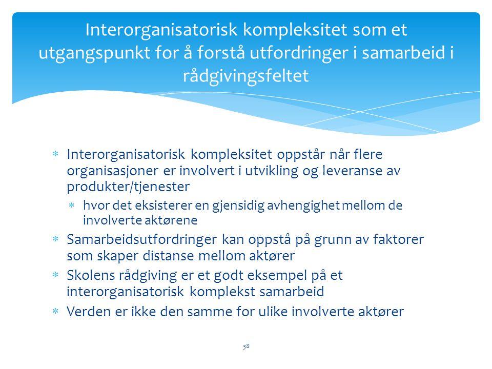  Interorganisatorisk kompleksitet oppstår når flere organisasjoner er involvert i utvikling og leveranse av produkter/tjenester  hvor det eksisterer en gjensidig avhengighet mellom de involverte aktørene  Samarbeidsutfordringer kan oppstå på grunn av faktorer som skaper distanse mellom aktører  Skolens rådgiving er et godt eksempel på et interorganisatorisk komplekst samarbeid  Verden er ikke den samme for ulike involverte aktører Interorganisatorisk kompleksitet som et utgangspunkt for å forstå utfordringer i samarbeid i rådgivingsfeltet 38