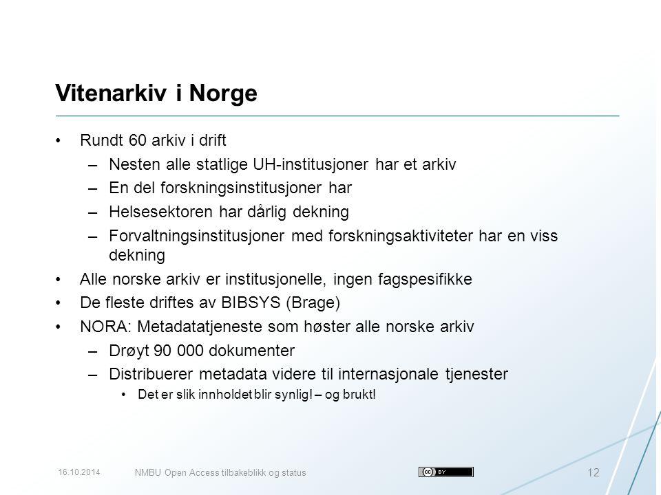 Vitenarkiv i Norge Rundt 60 arkiv i drift –Nesten alle statlige UH-institusjoner har et arkiv –En del forskningsinstitusjoner har –Helsesektoren har d