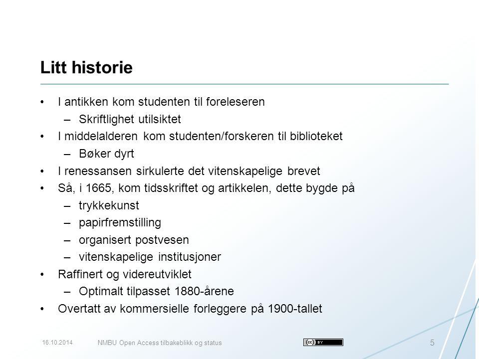 uit.no 16.10.2014 26 Jan Erik Frantsvåg jan.e.frantsvag@uit.no 77 64 49 50 995 06 207 http://www2.uit.no/ansatte/jan.e.frantsvag Publikasjoner: http://tinyurl.com/7oghndghttp://tinyurl.com/7oghndg http://orcid.org/0000-0003-3413-8799 NMBU Open Access tilbakeblikk og status