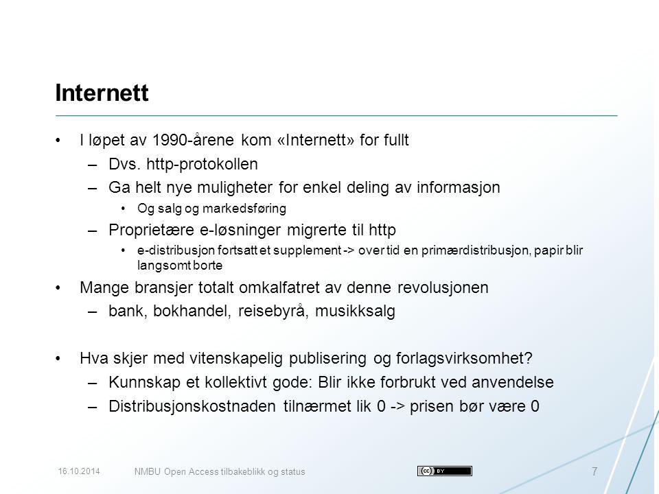 Open Access-tidsskrifter i Norge De ikke-kommersielle tidsskriftene vil bli utgitt OA ved institusjonene –Flere publiseringstjenester er allerede oppe og går –De som ikke blir OA, vil sykne hen og dø De kommersielle tradisjonelle tidsskriftene vil også måtte bli OA –Forutsetning for støtte fra Forskningsrådet og NOP –Ulike modeller tenkelig Politisk forhandlet modell med betaling på overordnet nivå Kommersiell modell med artikkelbetaling Hvilken modell krever at man viser evne til å være nyttig og dyktig for sine forfattere.