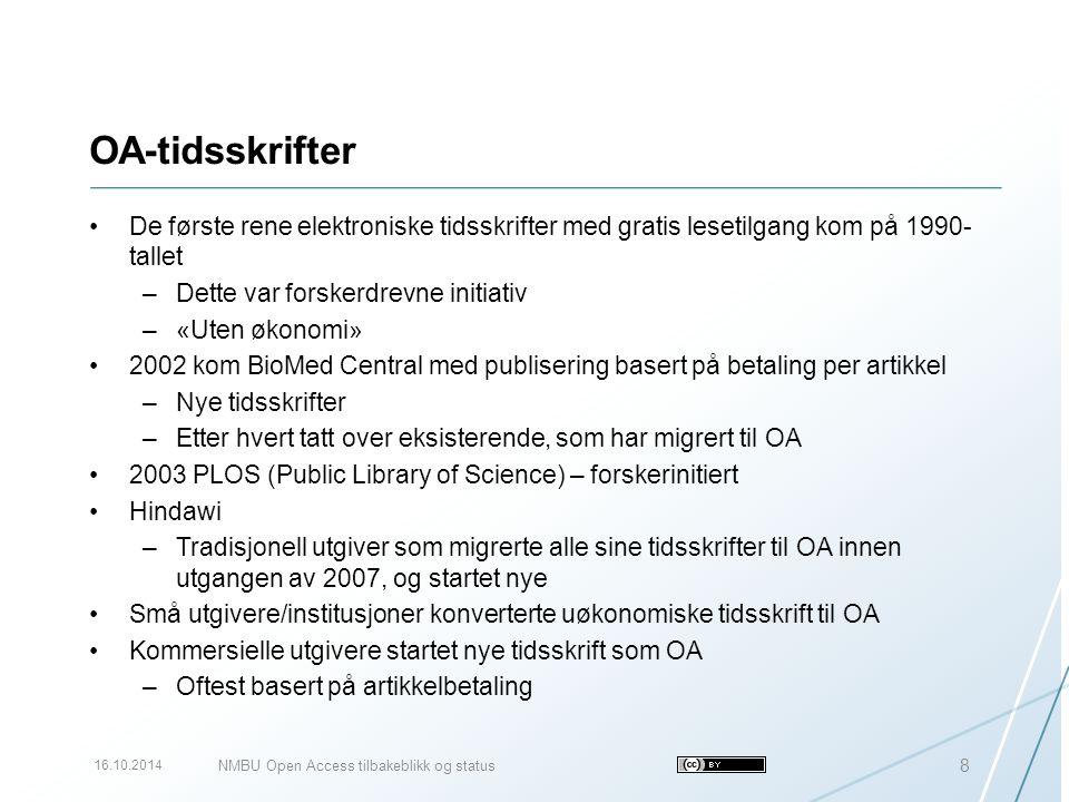 OA-tidsskrifter De første rene elektroniske tidsskrifter med gratis lesetilgang kom på 1990- tallet –Dette var forskerdrevne initiativ –«Uten økonomi»