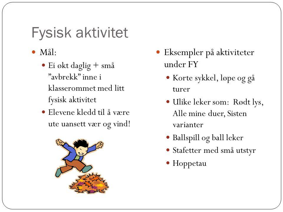 """Fysisk aktivitet Mål: Ei økt daglig + små """"avbrekk"""" inne i klasserommet med litt fysisk aktivitet Elevene kledd til å være ute uansett vær og vind! Ek"""