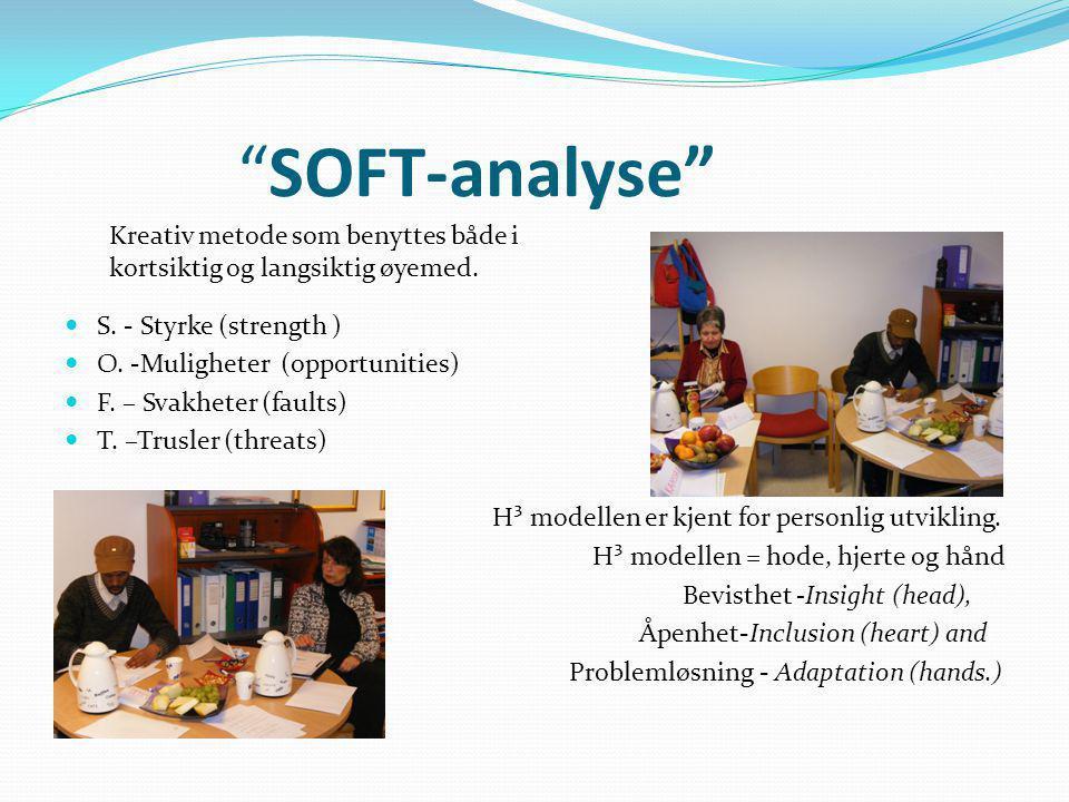 """""""SOFT-analyse"""" S. - Styrke (strength ) O. -Muligheter (opportunities) F. – Svakheter (faults) T. –Trusler (threats) H³ modellen er kjent for personlig"""