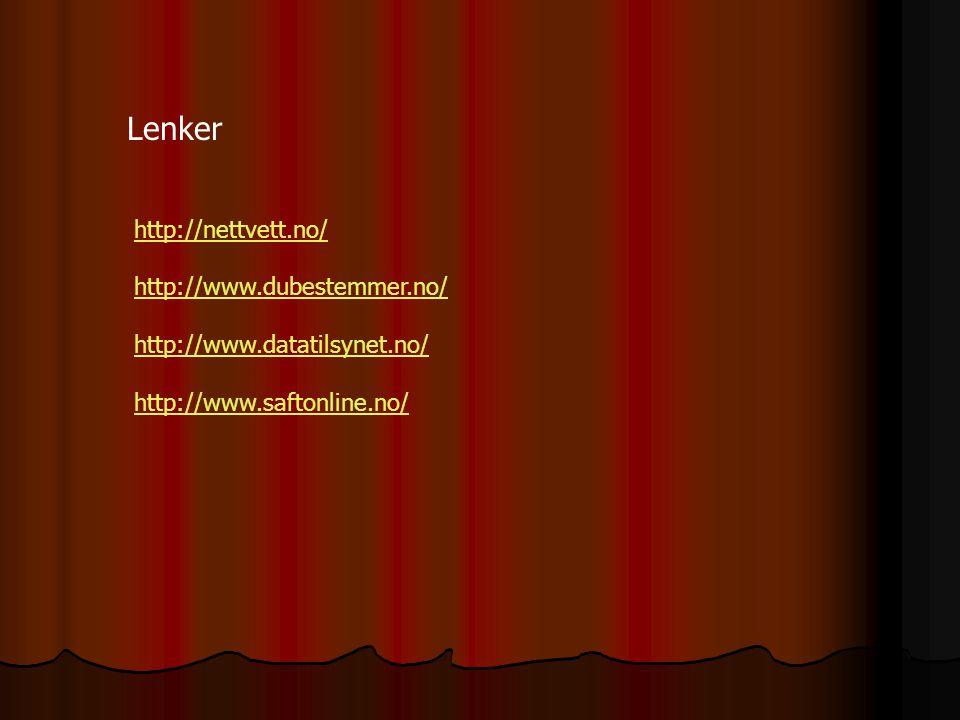 Lenker http://nettvett.no/ http://www.dubestemmer.no/ http://www.datatilsynet.no/ http://www.saftonline.no/