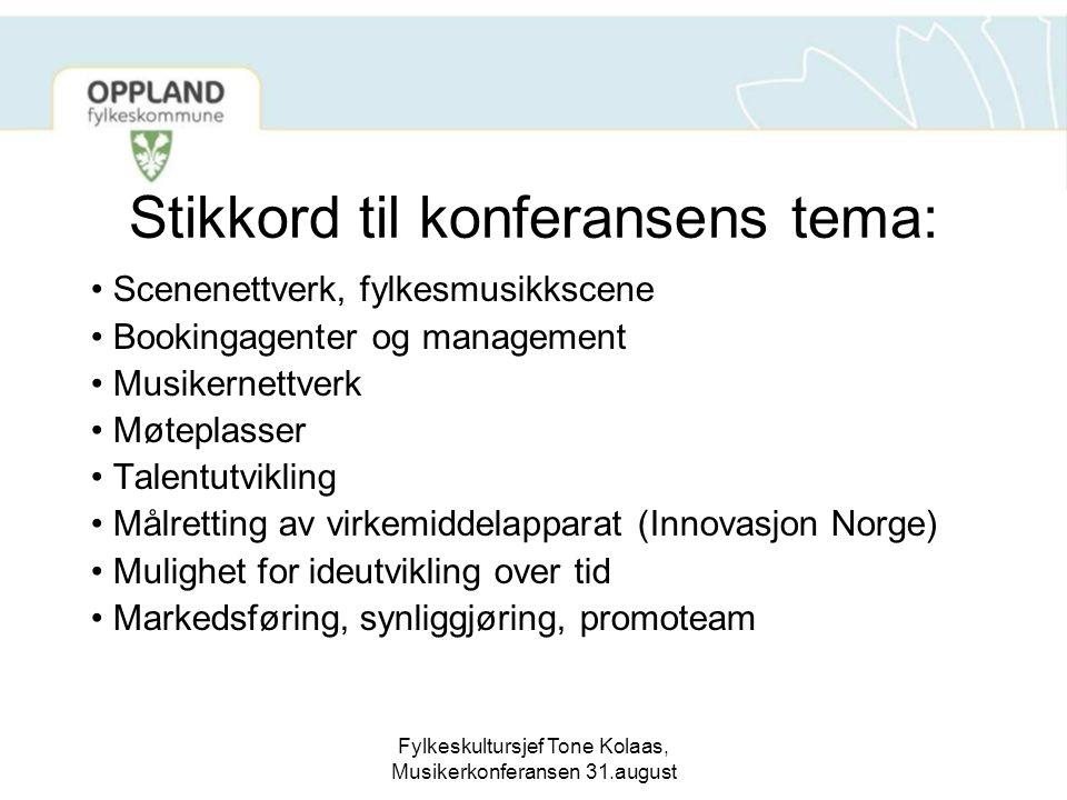 Fylkeskultursjef Tone Kolaas, Musikerkonferansen 31.august Stikkord til konferansens tema: Scenenettverk, fylkesmusikkscene Bookingagenter og manageme