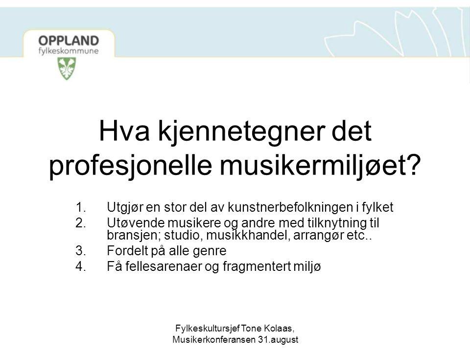 Fylkeskultursjef Tone Kolaas, Musikerkonferansen 31.august Hva kjennetegner det profesjonelle musikermiljøet? 1.Utgjør en stor del av kunstnerbefolkni