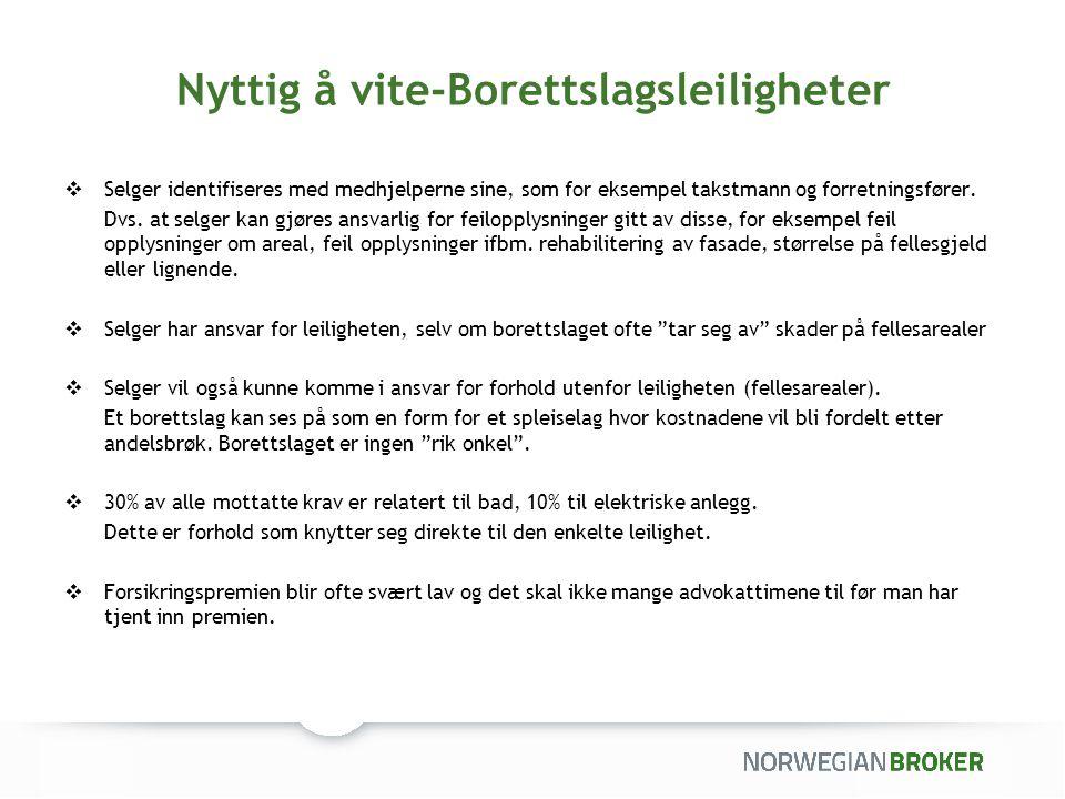 Premieeksempler  Borettslagsleilighet i blokk: Salgssum kr.
