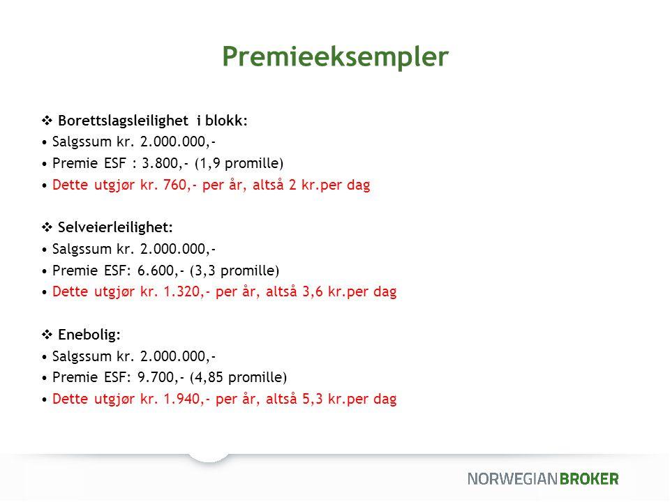 Premieeksempler  Borettslagsleilighet i blokk: Salgssum kr. 2.000.000,- Premie ESF : 3.800,- (1,9 promille) Dette utgjør kr. 760,- per år, altså 2 kr