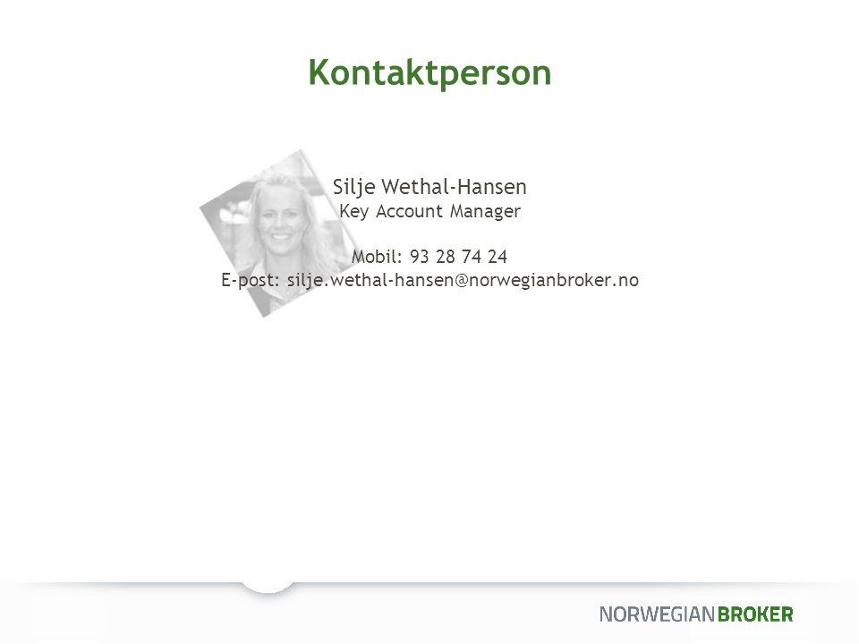 Kontaktperson Nina Flaten Key Account Manager Mobil: 986 200 88 E-post: nina.flaten@norwegianbroker.no