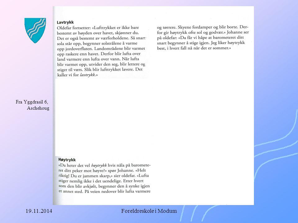19.11.2014Foreldreskole i Modum Læreplanen LK-06 Fagene i grunnskolen er fastlagt i den nasjonale læreplanen Læreplanen for hver fag er delt inn i: – Formålet med faget – Hovedområder i faget – Timetall i faget – Grunnleggende ferdigheter i faget – Kompetansemål i faget – Vurdering i faget
