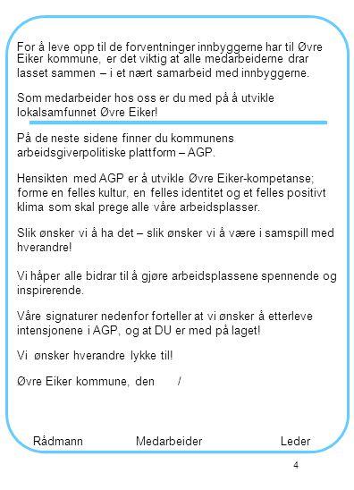 4 For å leve opp til de forventninger innbyggerne har til Øvre Eiker kommune, er det viktig at alle medarbeiderne drar lasset sammen – i et nært samarbeid med innbyggerne.