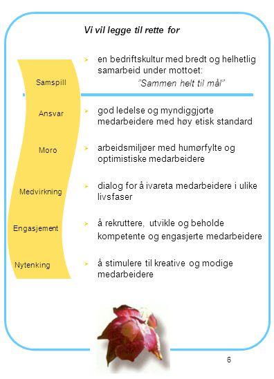 6 Vi vil legge til rette for  en bedriftskultur med bredt og helhetlig samarbeid under mottoet: Sammen helt til mål  god ledelse og myndiggjorte medarbeidere med høy etisk standard  arbeidsmiljøer med humørfylte og optimistiske medarbeidere  dialog for å ivareta medarbeidere i ulike livsfaser  å rekruttere, utvikle og beholde kompetente og engasjerte medarbeidere  å stimulere til kreative og modige medarbeidere Samspill Ansvar Moro Medvirkning Engasjement Nytenking