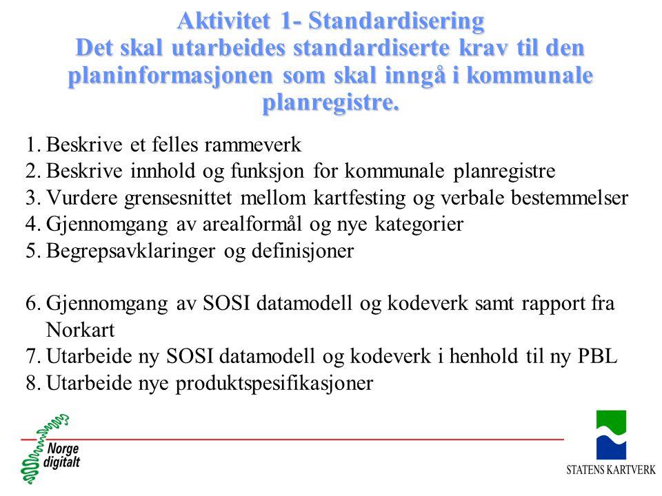 Aktivitet 1- Standardisering Det skal utarbeides standardiserte krav til den planinformasjonen som skal inngå i kommunale planregistre. 1.Beskrive et