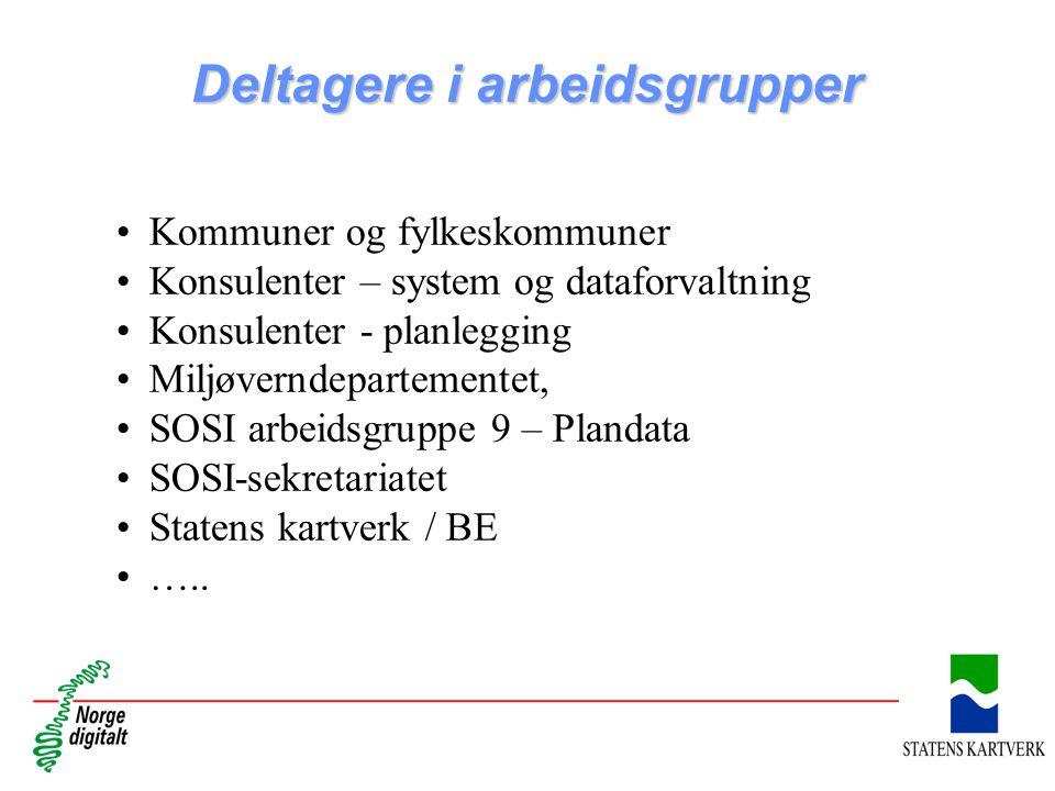 Deltagere i arbeidsgrupper Kommuner og fylkeskommuner Konsulenter – system og dataforvaltning Konsulenter - planlegging Miljøverndepartementet, SOSI a
