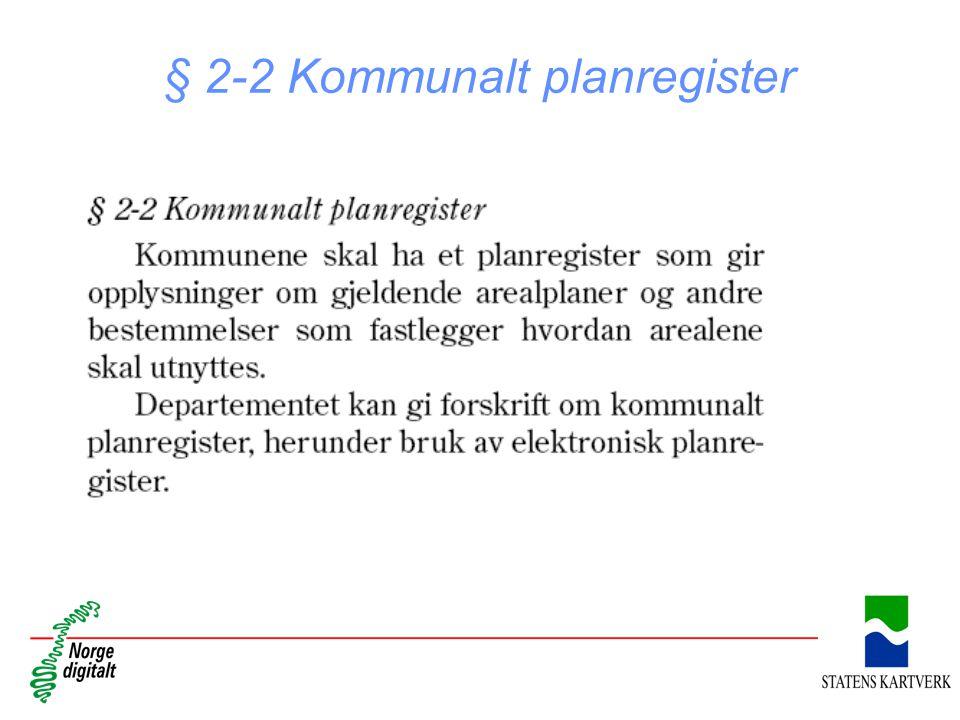 § 2-2 Kommunalt planregister