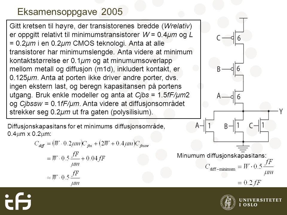 Eksamensoppgave 2005 Gitt kretsen til høyre, der transistorenes bredde (Wrelativ) er oppgitt relativt til minimumstransistorer W = 0.4μm og L = 0.2μm i en 0.2μm CMOS teknologi.