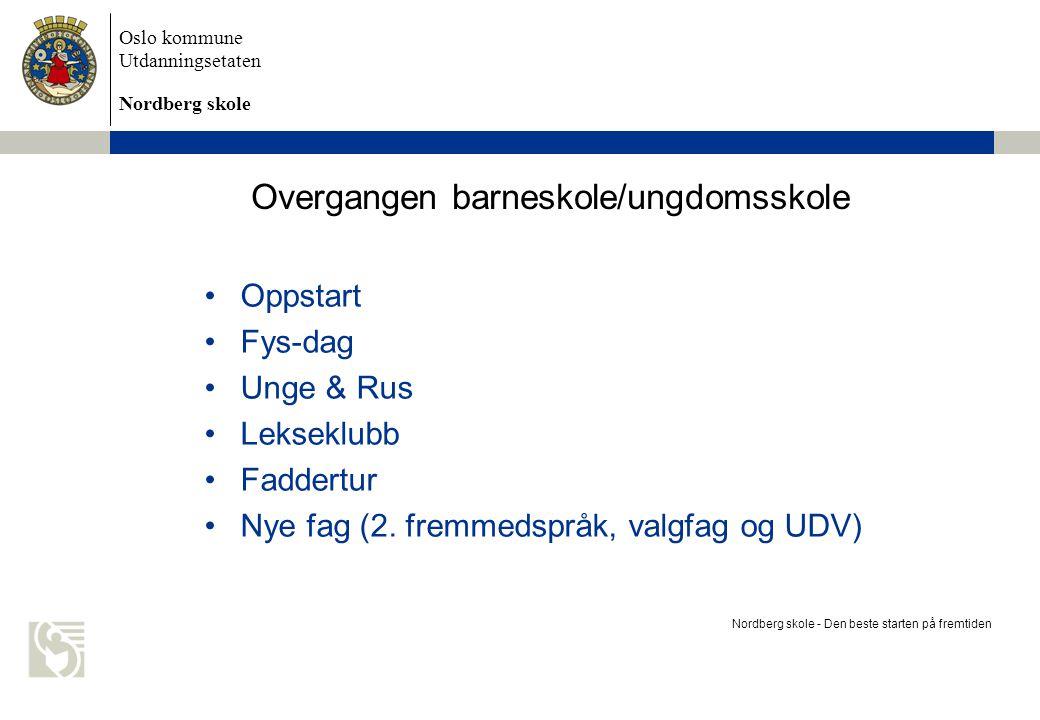 Oslo kommune Utdanningsetaten Nordberg skole Overgangen barneskole/ungdomsskole Oppstart Fys-dag Unge & Rus Lekseklubb Faddertur Nye fag (2. fremmedsp