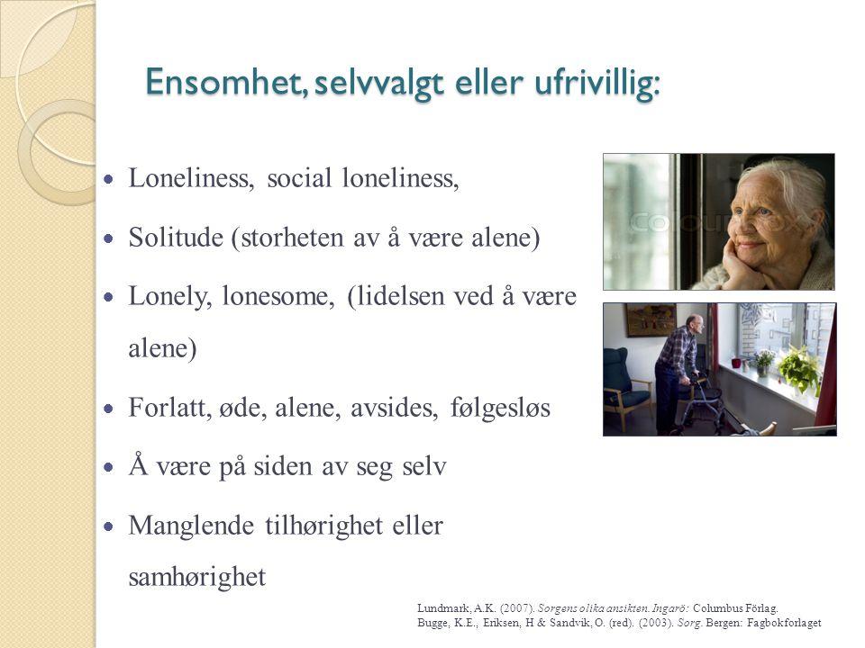 Ensomhet, selvvalgt eller ufrivillig: Loneliness, social loneliness, Solitude (storheten av å være alene) Lonely, lonesome, (lidelsen ved å være alene