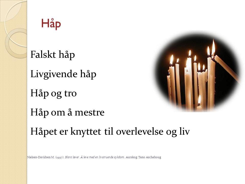 Håp Falskt håp Livgivende håp Håp og tro Håp om å mestre Håpet er knyttet til overlevelse og liv Nielsen-Davidsen M. (1997). Blant løver. Å leve med e