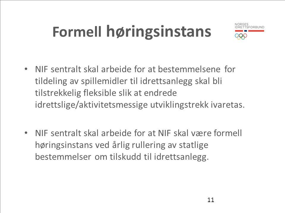 Formell høringsinstans NIF sentralt skal arbeide for at bestemmelsene for tildeling av spillemidler til idrettsanlegg skal bli tilstrekkelig fleksible slik at endrede idrettslige/aktivitetsmessige utviklingstrekk ivaretas.