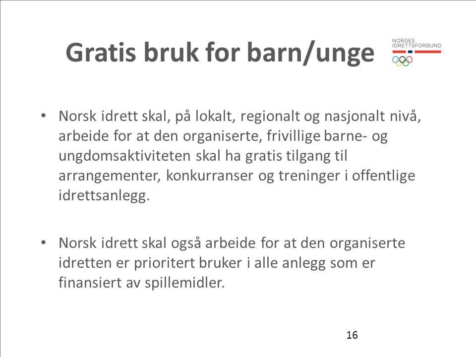 Gratis bruk for barn/unge Norsk idrett skal, på lokalt, regionalt og nasjonalt nivå, arbeide for at den organiserte, frivillige barne- og ungdomsaktiviteten skal ha gratis tilgang til arrangementer, konkurranser og treninger i offentlige idrettsanlegg.