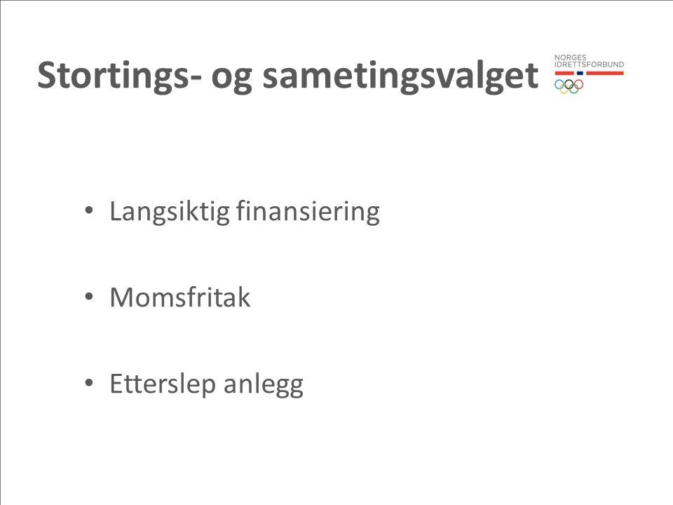 Stortings- og sametingsvalget Langsiktig finansiering Momsfritak Etterslep anlegg