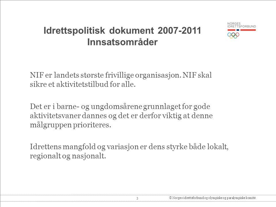 3© Norges idrettsforbund og olympiske og paralympiske komité Idrettspolitisk dokument 2007-2011 Innsatsområder NIF er landets største frivillige organisasjon.