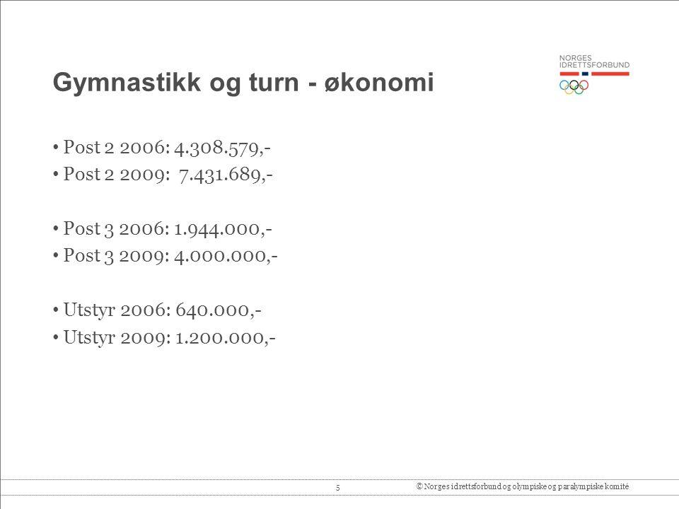 5© Norges idrettsforbund og olympiske og paralympiske komité Gymnastikk og turn - økonomi Post 2 2006: 4.308.579,- Post 2 2009: 7.431.689,- Post 3 2006: 1.944.000,- Post 3 2009: 4.000.000,- Utstyr 2006: 640.000,- Utstyr 2009: 1.200.000,-