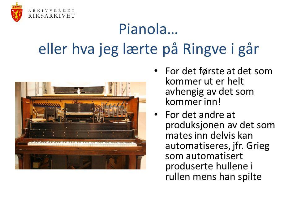 Pianola… eller hva jeg lærte på Ringve i går For det første at det som kommer ut er helt avhengig av det som kommer inn.