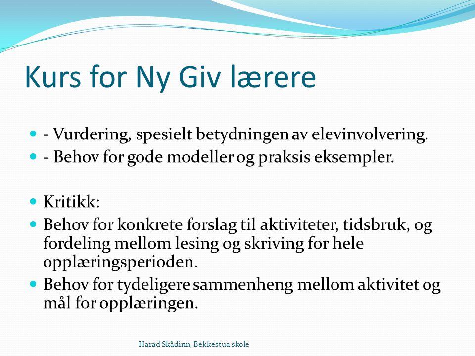 Kurs for Ny Giv lærere - Vurdering, spesielt betydningen av elevinvolvering.