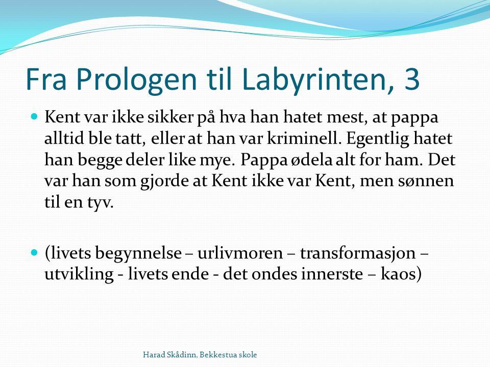 Fra Prologen til Labyrinten, 3 Kent var ikke sikker på hva han hatet mest, at pappa alltid ble tatt, eller at han var kriminell.