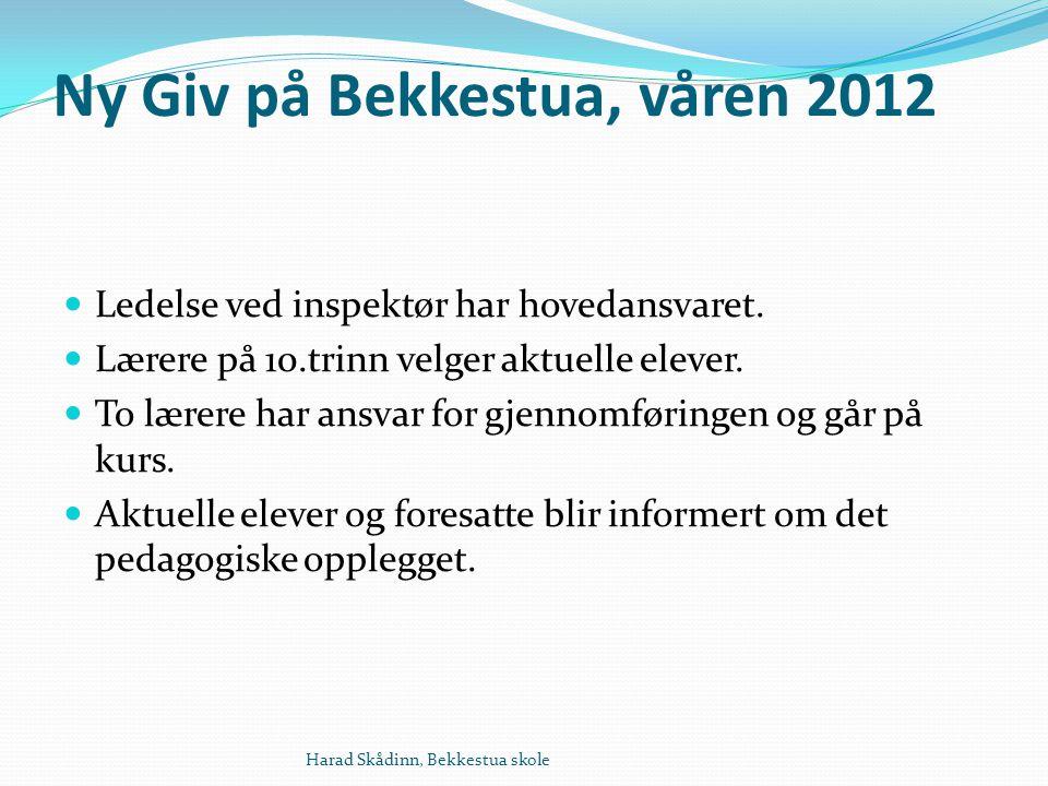 Ny Giv på Bekkestua, våren 2012 Ledelse ved inspektør har hovedansvaret.
