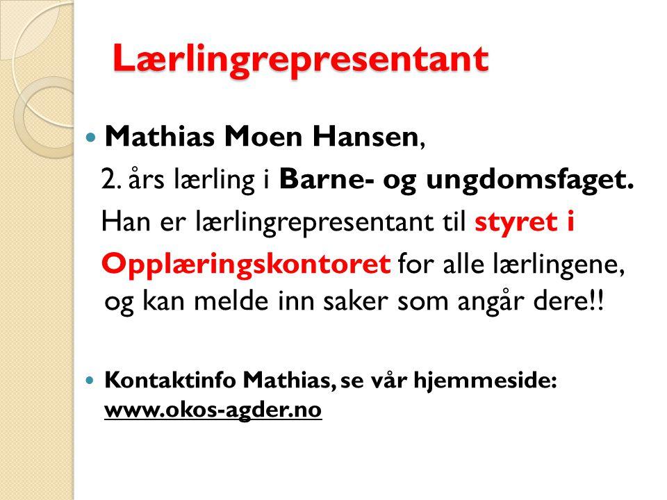 Lærlingrepresentant Mathias Moen Hansen, 2.års lærling i Barne- og ungdomsfaget.