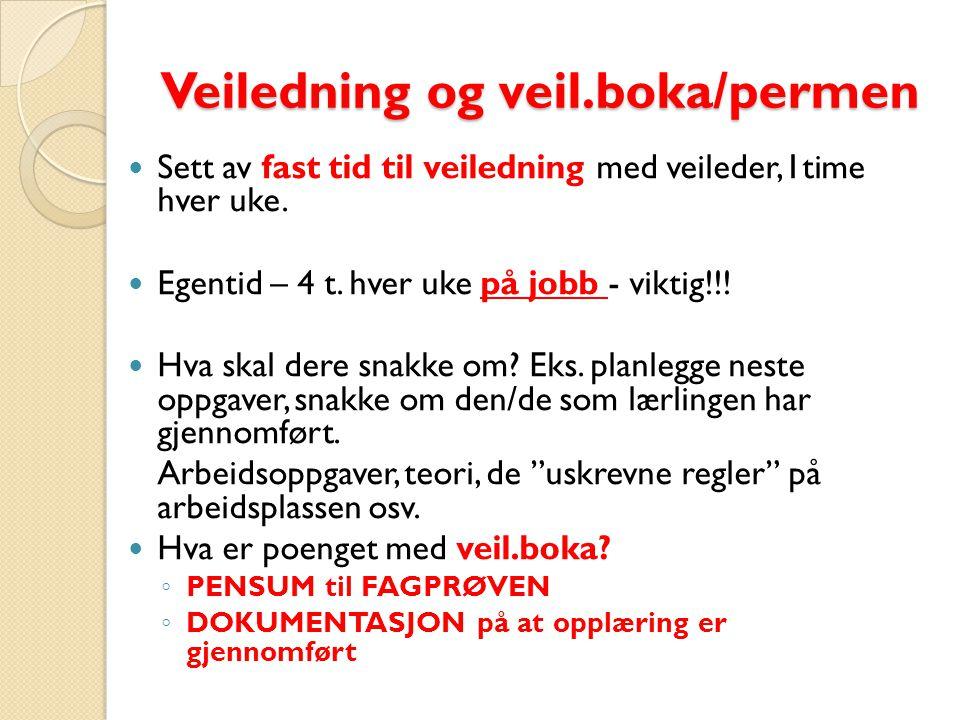 Veiledning og veil.boka/permen Sett av fast tid til veiledning med veileder,1time hver uke.
