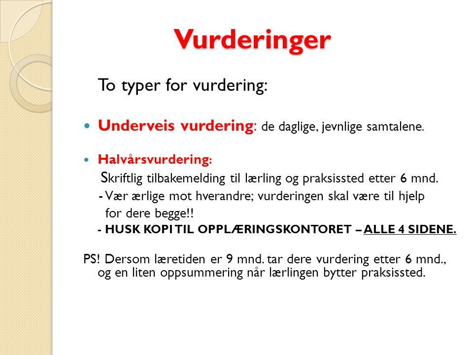 Vurderinger Vurderinger To typer for vurdering: Underveis vurdering: de daglige, jevnlige samtalene.