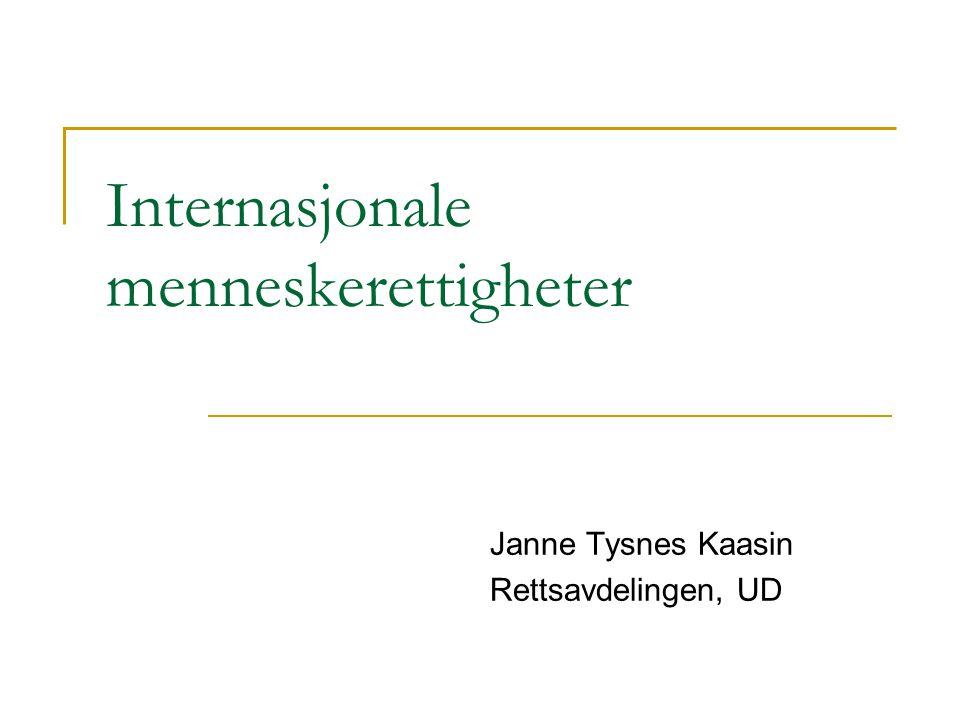 Internasjonale menneskerettigheter Janne Tysnes Kaasin Rettsavdelingen, UD
