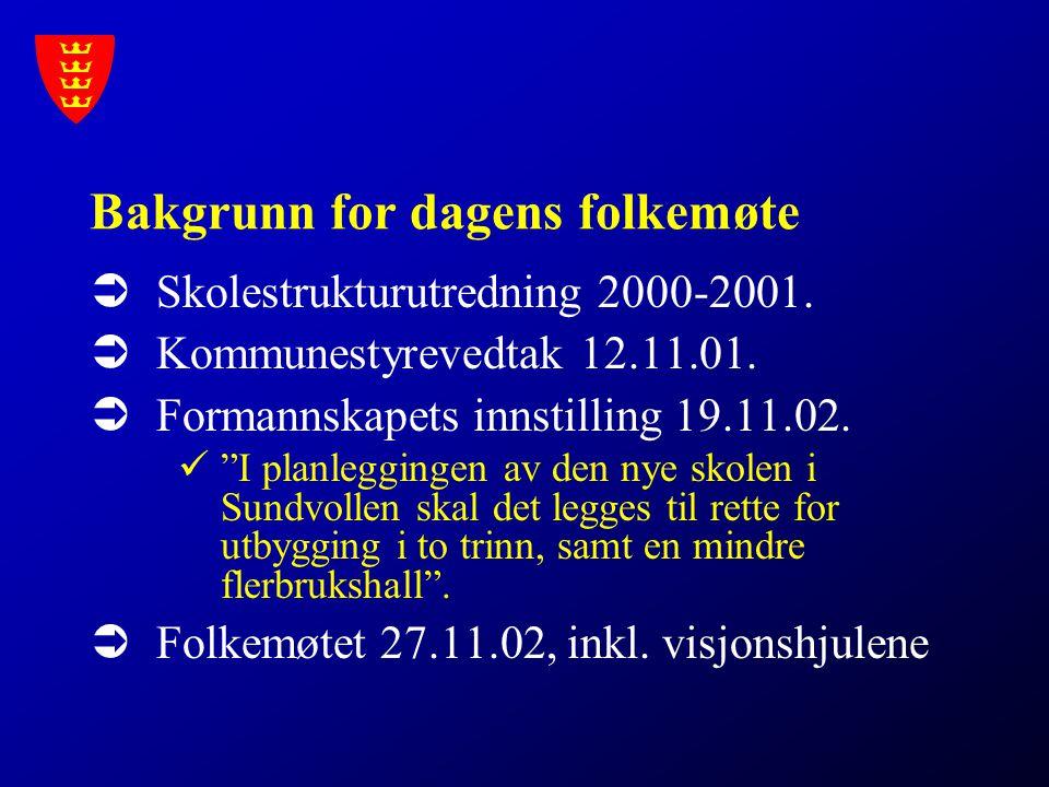 """Bakgrunn for dagens folkemøte  Skolestrukturutredning 2000-2001.  Kommunestyrevedtak 12.11.01.  Formannskapets innstilling 19.11.02. """"I planlegging"""